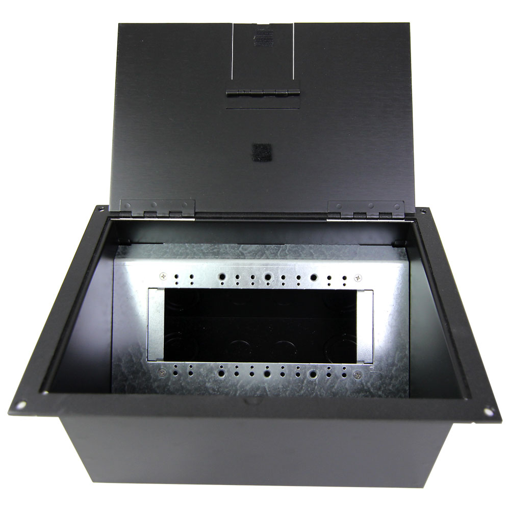 Fl 1550 Blk Black 4 Gang Stage Floor Box
