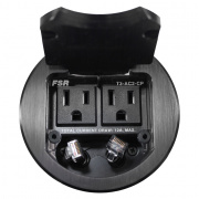 t3-ac2cp-blk- table box with 2 data / 2 ac outlets, cable pull