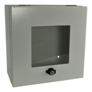 owb-cp1-w-wht- outdoor wall box & cover w/ 2 & 3 gang mounting plate with window - white
