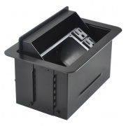 t3u-1-blk- black table box with ac duplex black cover and trim ring