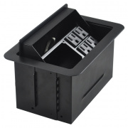 t3u-3- black t3u-3 table box with 4 ac outlets - black cover