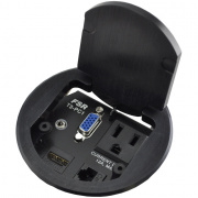 "t3-pc1d-blk- 3.5"" black table box with 1 hdmi / 1 hd-15 male / 1- 3.5mm st. audio / 1 data / 1 ac outlet"