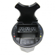 hv-t6-blk- black hdmi input table box (4 buttons / 4 led's) w/ rd, yl, bl, blk hdmi cables