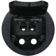 t3-ips-blk- black table box with opening for 2 space ips bracket / single cable and dual cable pull brackets