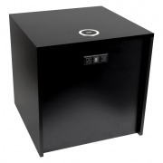"large black 22"" cube w/ac, usb, and qi wireless charger"