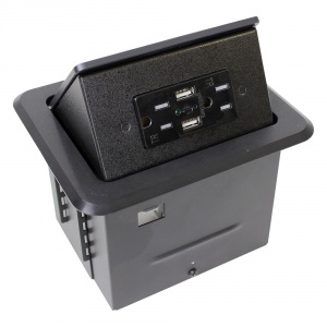 tb-chrg- black table box with 2-ac, 2-usb charge