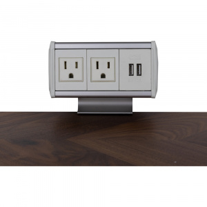 Symphony Table Box stocked model  w/ 2 AC outlets, 1 Dual Charger, Aluminum housing, White end cap, White inserts.