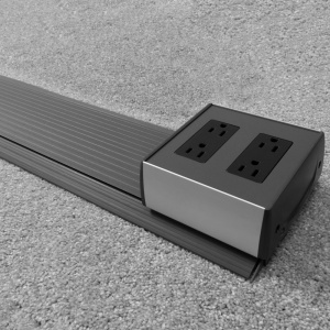 6' Smart-Way Stick in slate-gray powder coat paint with a (2) Gang - (2) duplex power device box
