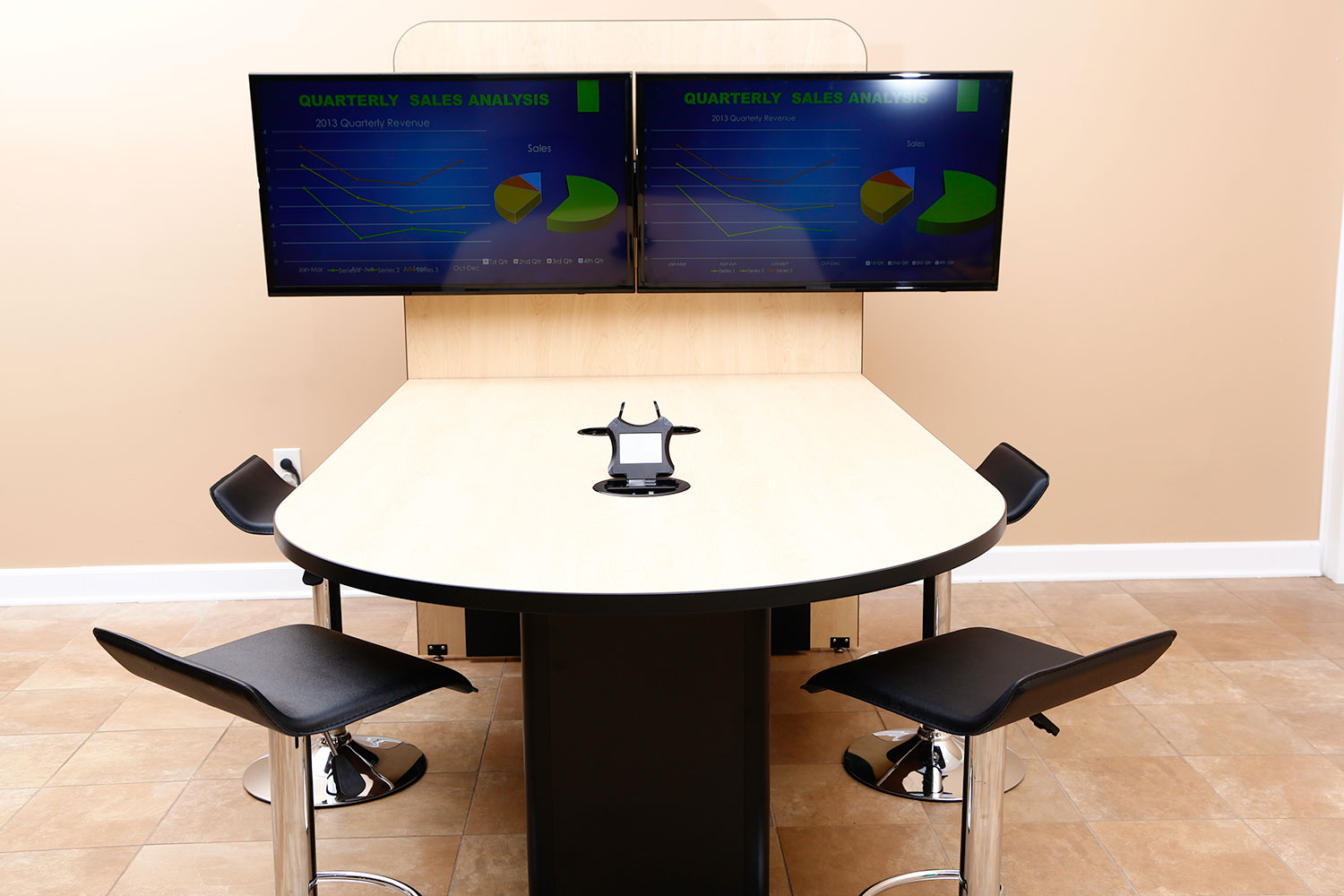 HuddleVU Maple Table Option  HuddleVU Maple Table Option shown with dual  monitors ...