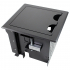 rt6-s3-blk- black table box with 3 large brackets, holds 8 tbrt retractors, ac & usb chargers