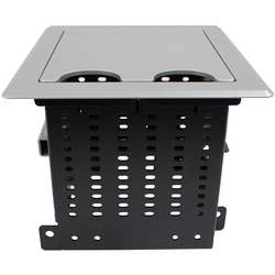 rt6-s3-slv- silver table box with 3 large brackets, holds 8 tbrt retractors, ac & usb chargers