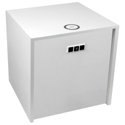"large white 22"" cube w/ac, usb, and qi wireless charger"